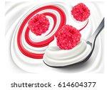 milk yogurt cream with fresh... | Shutterstock .eps vector #614604377