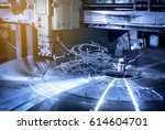 industrial lathe rotating with... | Shutterstock . vector #614604701