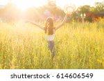 portrait of happy beautiful... | Shutterstock . vector #614606549