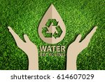 save water concept. paper cut... | Shutterstock . vector #614607029