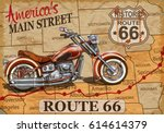 vintage route 66  motorcycle... | Shutterstock .eps vector #614614379
