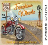 vintage route 66 texas... | Shutterstock .eps vector #614614415