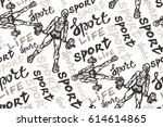 hand drawn sport pattern with... | Shutterstock .eps vector #614614865