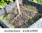 family compost with a fork to... | Shutterstock . vector #614614985