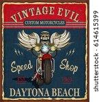 vintage custom motorcycle ... | Shutterstock .eps vector #614615399