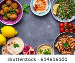 assorted middle eastern dishes... | Shutterstock . vector #614616101