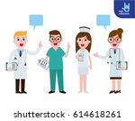 team happy doctors isolated on... | Shutterstock .eps vector #614618261