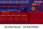 bar restaurant with counter in... | Shutterstock . vector #614624081