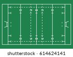 flat green rugby field. top... | Shutterstock .eps vector #614624141