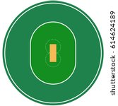flat green cricket ground. top... | Shutterstock .eps vector #614624189