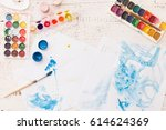 top view on child's drawings... | Shutterstock . vector #614624369