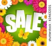 sale postcard with gerbers  | Shutterstock . vector #614632031