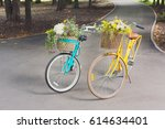 women city bicycles with...   Shutterstock . vector #614634401