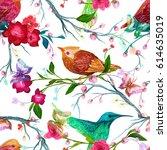 vintage seamless pattern  bird  ... | Shutterstock .eps vector #614635019