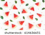 watermelon pattern. sliced... | Shutterstock . vector #614636651