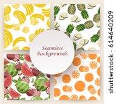 set of seamless fruit... | Shutterstock .eps vector #614640209