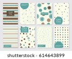 covers with flat geometric... | Shutterstock .eps vector #614643899