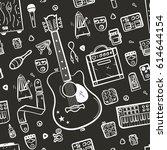 guitar accessories line vector... | Shutterstock .eps vector #614644154
