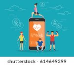 health care mobile app concept... | Shutterstock . vector #614649299