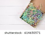 opened gift mailing shipping... | Shutterstock . vector #614650571