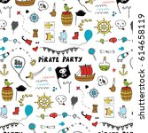pirate party pattern  | Shutterstock .eps vector #614658119