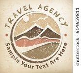 travel logo  grunge round... | Shutterstock .eps vector #614659811