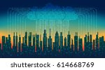 binary rain in digital abstract ... | Shutterstock .eps vector #614668769