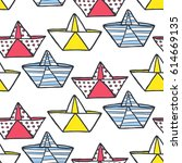 seamless pattern of paper boats.... | Shutterstock .eps vector #614669135