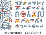 details pipes different types... | Shutterstock .eps vector #614671445