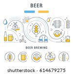 flat line illustration of beer... | Shutterstock . vector #614679275