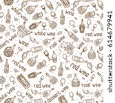 wine bottle  glass  grape vine... | Shutterstock . vector #614679941