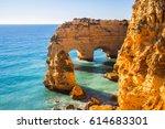 praia da marinha in algavre... | Shutterstock . vector #614683301