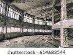 inside an abandoned deserted... | Shutterstock . vector #614683544