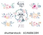 set of watercolor boho floral... | Shutterstock . vector #614686184