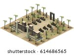 isometric buildings of ancient... | Shutterstock . vector #614686565