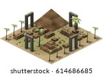 isometric buildings of ancient... | Shutterstock . vector #614686685