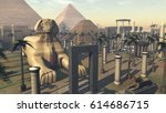 ancient sphinx and architecture ... | Shutterstock . vector #614686715