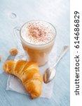 breakfast with latte macchiato...   Shutterstock . vector #614686829