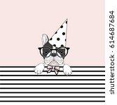 cute festal french bulldog ...   Shutterstock .eps vector #614687684