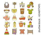 vector set of flat design cute...   Shutterstock .eps vector #614697491