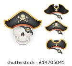 skull with pirate hats set... | Shutterstock .eps vector #614705045