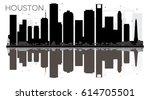 houston city skyline black and... | Shutterstock .eps vector #614705501