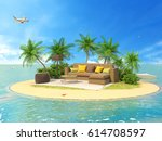 the concept of vacation. rest... | Shutterstock . vector #614708597