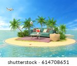 the concept of vacation. rest... | Shutterstock . vector #614708651