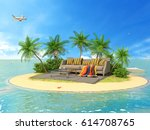the concept of vacation. rest... | Shutterstock . vector #614708765