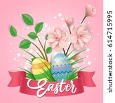 easter with cherry flowers and... | Shutterstock .eps vector #614715995