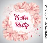 Stock vector easter party lettering with cherry flowers 614716265