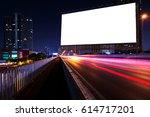 blank billboard on light trails ... | Shutterstock . vector #614717201