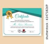 modern verified certificate... | Shutterstock .eps vector #614718269