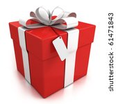 Gift Box Over White Background...